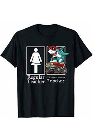 High School Like A Boss Team by Crush Retro CTE Sports Medicine Teacher Monster Truck Gamer Shark T-Shirt