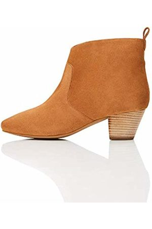 FIND Leather Casual Western Ankle Boots, Caramel)