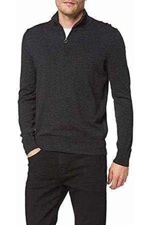 North Sails Men's Half Zip Cotton Wool Kniited Tank Top, (Dark Melange 935.0)