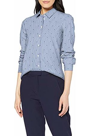 Seidensticker Women's Hemdbluse Langarm Modern fit Bügelleicht Streifen Stretch-Baumwollmischung Blouse, (weiß-Blau 19)
