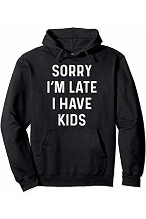 Funny Running Late Designs Supply Co. Funny Running Late Mom Gift With Kids Design Pullover Hoodie
