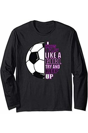 Girls Soccer Gear & Accessories Girls Soccer Play Like A Girl Half Ball Pink For Teenagers Long Sleeve T-Shirt
