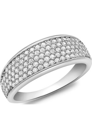 Love GOLD 9Ct White Gold Cubic Zirconia Pave Band Ring