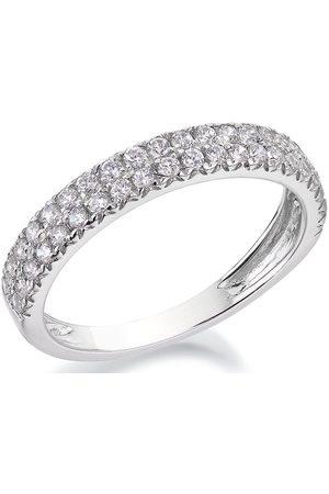 Love DIAMOND 9Ct White Gold 1/2 Carat Diamond Double Row Eternity Ring