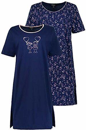 Ulla Popken Women's Big-Shirt 2er Pack, Strichmännchen, Große Größen Nightie, ( 71)