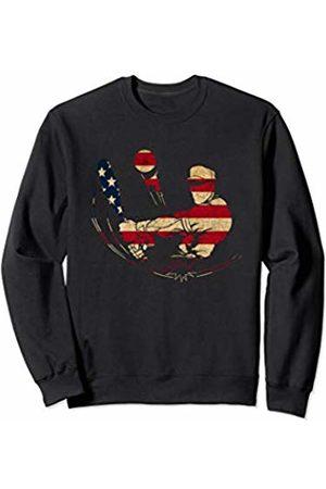 Sports Fan Shirts For Men Women Vintage Baseball Team Player Sport Fan US Flag Men Sweatshirt