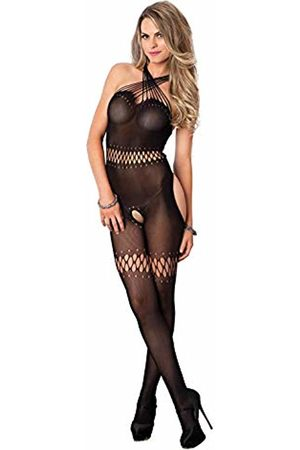 Leg Avenue 89145 One Size 6 to 12 Sheer Bare Bottom Crotchless Bodystocking with Teardrop Net Detail and Multi Strand Twist Halter Neck