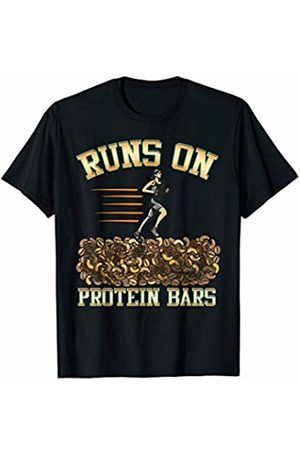 Funny Runs On Protein Bars Cardio Running T-Shirts Runs On Protein Bars Funny Cardio & Running Pun T-Shirt