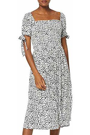 Dorothy Perkins Women's White Ditsy Short Sleeve Crinkle Gypsy Midi Dress ( 010)