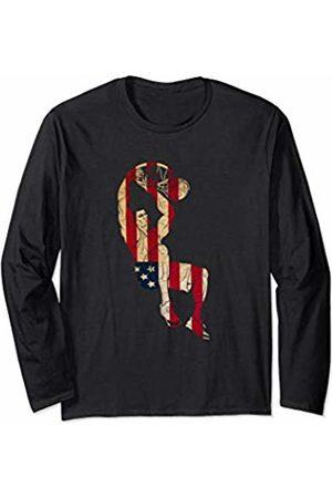 Sports Fan Shirts For Men Women Men Long Sleeve - Vintage Basketball Team Player Sport Fan US Flag Men Long Sleeve T-Shirt