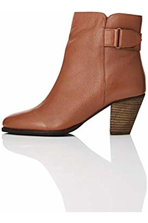FIND Casual Ankle Leather Chelsea Boots, Brandy)