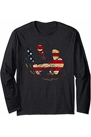 Sports Fan Shirts For Men Women Vintage Baseball Team Player Sport Fan US Flag Men Long Sleeve T-Shirt