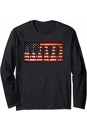 Sports Fan Shirts For Men Women Vintage Football Team Player Sport Fan US Flag Men Long Sleeve T-Shirt