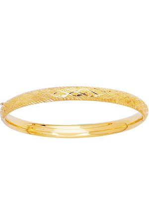 SuperJeweler 14K (3.40 g) Kids Diamond Cut Bangle Bracelet, 5 1/2 Inches