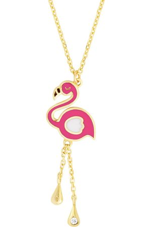 SuperJeweler 14K (1.89 g) Kids Flamingo Necklace, 14 Inches
