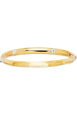 SuperJeweler 14K Two Tone (3.50 g) Kids Bangle Bracelet, 5 1/2 Inches