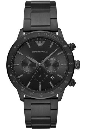 Emporio Armani Black Chronograph Dial Black Stainless Steel Brushed Detail Bracelet Mens Watch