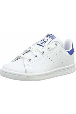 adidas Unisex Kids Stan Smith C Basketball Shoes, Multicolor (Ftwwht/Ftwwht/Eqtblu)