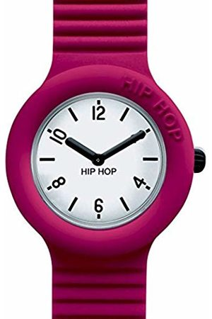 Hip Hop HIP-HOP Ladys' Essential Watch Collection Mono-Colour White dial 2 Hands Quartz Movement and Silicon RED Strap HWU0641
