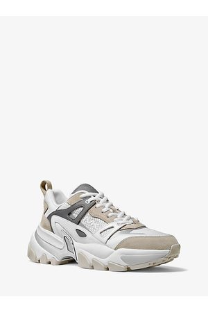 Michael Kors Penn Leather Suede And Mesh Trainer
