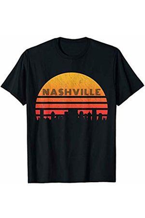 Classic Vintage Retro T-Shirts Vintage Retro Sunset Nashville Skyline T-Shirt