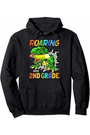 Roaring T-Rex First Day Of School Apparel Roaring Into 2ND Grade T-Rex Dinosaur Boys Back To School Pullover Hoodie