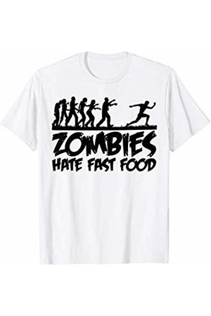 Miftees Zombies Hate Fast Food man Running from zombies Halloween T-Shirt