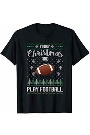Pretty Ugly Christmas Designs Merry Christmas and Play Football Sports TV Snow T-Shirt
