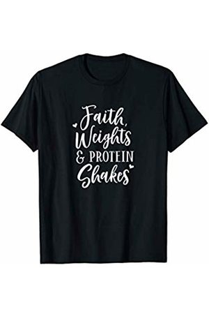 Tee Pulse Faith Weights & Protein Shakes: Funny Religious Gym Shirts T-Shirt