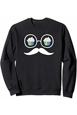 Sweets and Treats Silhouette Art Apparel Birthday Cupcake in Glasses with a Mustache Gift For Teens Sweatshirt