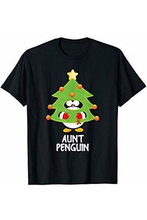 Funny Christmas Tree Penguins Men T-shirts - Aunt Christmas Penguin Funny Family Matching Pajamas Top T-Shirt