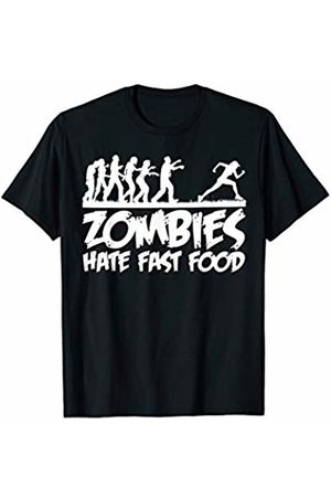 Miftees Women T-shirts - Zombies Hate Fast Food woman Running from zombies Halloween T-Shirt