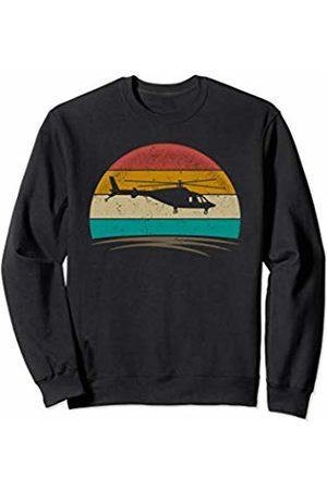 Wowsome! Vintage Helicopter Pilot Retro 70s Distressed Crew Men Women Sweatshirt