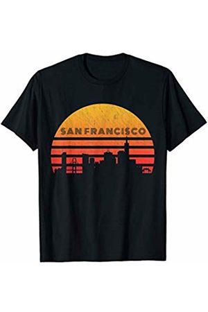 Classic Vintage Retro T-Shirts Vintage Retro Sunset San Francisco Skyline T-Shirt