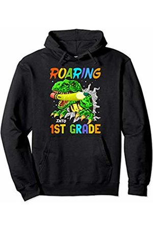 Roaring T-Rex First Day Of School Apparel Roaring Into 1st Grade T-Rex Dinosaur Boys Back To School Pullover Hoodie