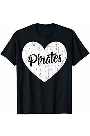 School Spirit Sports Team Apparel & Tees Pirates School Sports Fan Team Spirit Mascot Cute Heart Gift T-Shirt