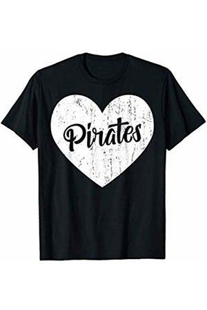 School Spirit Sports Team Apparel & Tees Pirates School Sports Fan Team Spirit Mascot Cute Heart Gift T-Shirt