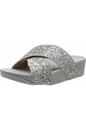 FitFlop Women's Lulu Glitter Slides Open Toe Sandals, 011