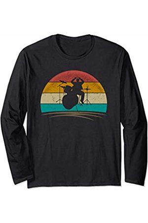 Wowsome! Vintage Drummer Retro 70s Distressed Drum Player Men Women Long Sleeve T-Shirt