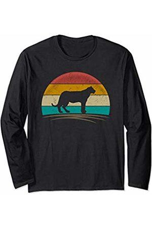 Wowsome! Vintage Jaguar Panther Retro Distressed Feline Men Women Long Sleeve T-Shirt