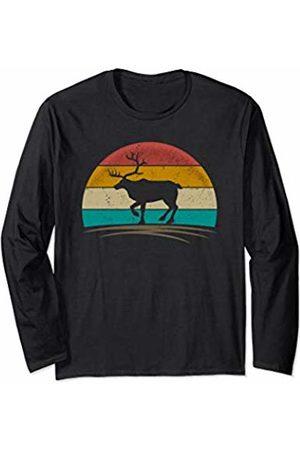 Wowsome! Vintage Reindeer Retro 70s Distressed Deer Men Women Long Sleeve T-Shirt