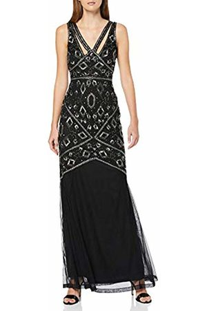Frock and Frill Women's Henrietta Sleeveless Embellished Maxi Dress Party ( #000000)