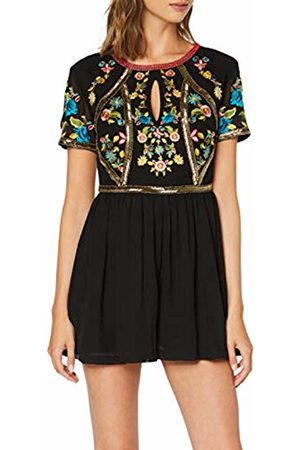 Frock and Frill Women's Giorgetta Embellished Short Sleeve Playsuit Party Dress, #000000