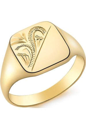 Love GOLD 9Ct Gold Square Engraved Signet Ring