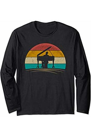 Wowsome! Vintage Pianist Retro 70s Distressed Piano Player Men Women Long Sleeve T-Shirt