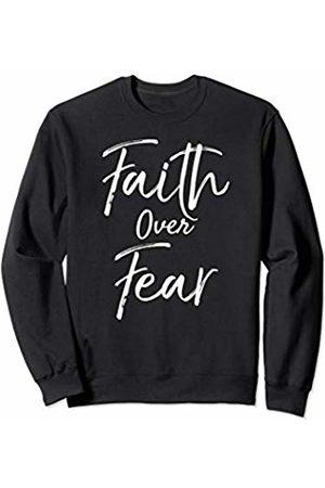P37 Design Studio Jesus Shirts Faith Over Fear Gift for Women Inspirational Christian Sweatshirt