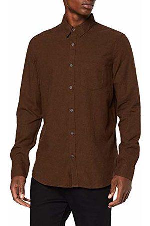 New Look Men's Rust Texture Regular Fit Long Sleeve Casual Shirt