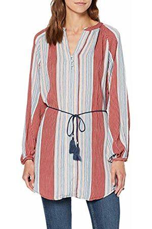 Only Women's Onlpamela L/s Tunic WVN Blouse, (Calypso Coral Graphic Stripe)