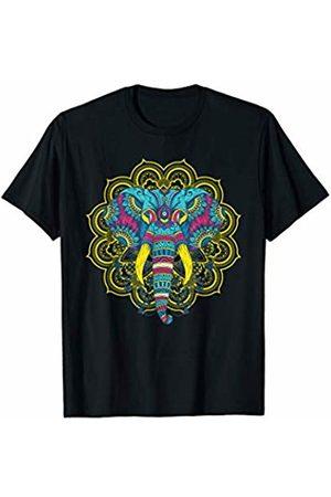 Mandala Ganesha Tribal Style Shirts Yoga Mandala Elephant Ganesha Tribal Ornaments Chakra Tee T-Shirt