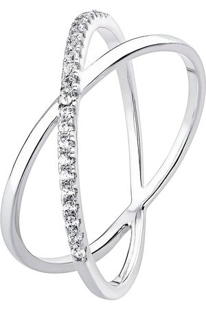 The Love Silver Collection Sterling Silver Cubic Zirconia Crossover Ring